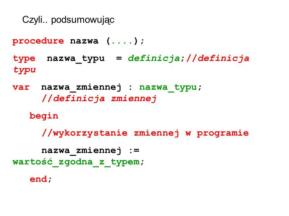 Czyli.. podsumowując procedure nazwa (....); type nazwa_typu = definicja;//definicja typu var nazwa_zmiennej : nazwa_typu; //definicja zmiennej begin