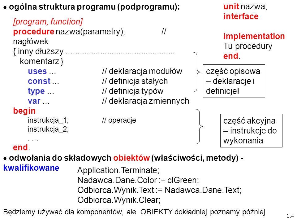 1.4 ogólna struktura programu (podprogramu): procedure nazwa(parametry);// nagłówek { inny dłuższy................................................ kom