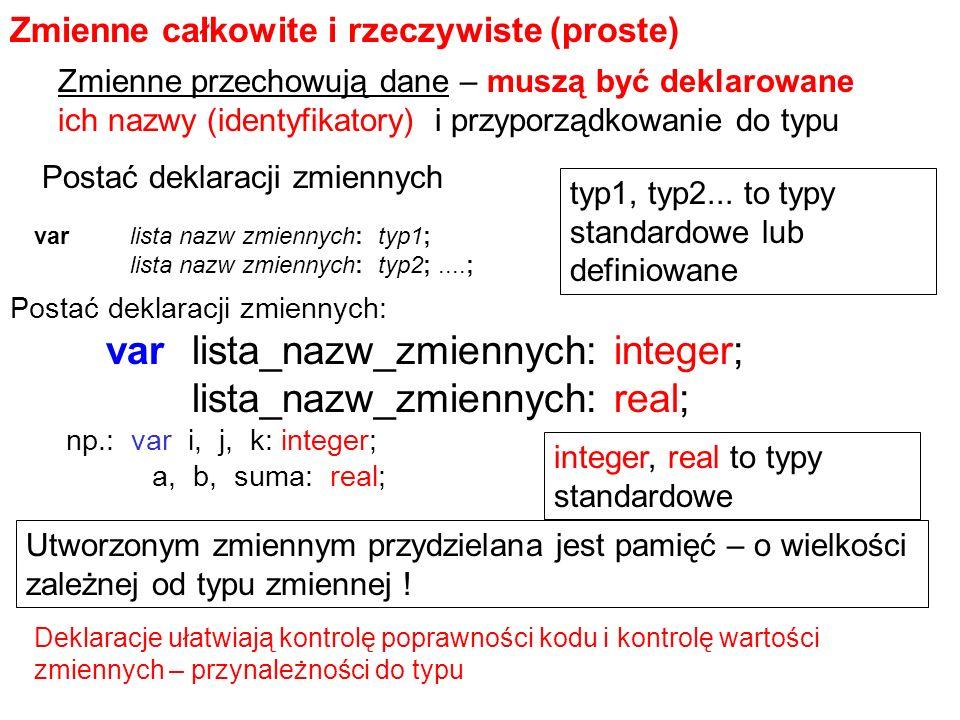 varlista_nazw_zmiennych: integer; lista_nazw_zmiennych: real; Zmienne całkowite i rzeczywiste (proste) np.: var i, j, k: integer; a, b, suma: real; Postać deklaracji zmiennych: Zmienne przechowują dane – muszą być deklarowane ich nazwy (identyfikatory) i przyporządkowanie do typu var lista nazw zmiennych: typ1; lista nazw zmiennych: typ2;....; Utworzonym zmiennym przydzielana jest pamięć – o wielkości zależnej od typu zmiennej .