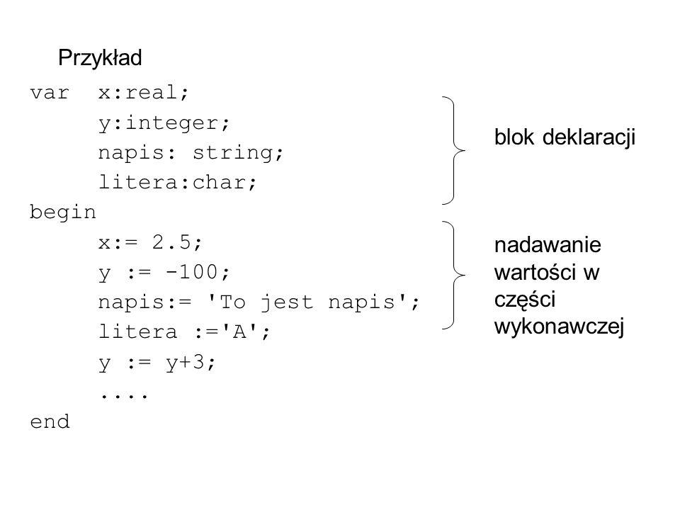 Przykład varx:real; y:integer; napis: string; litera:char; begin x:= 2.5; y := -100; napis:= To jest napis ; litera := A ; y := y+3;....