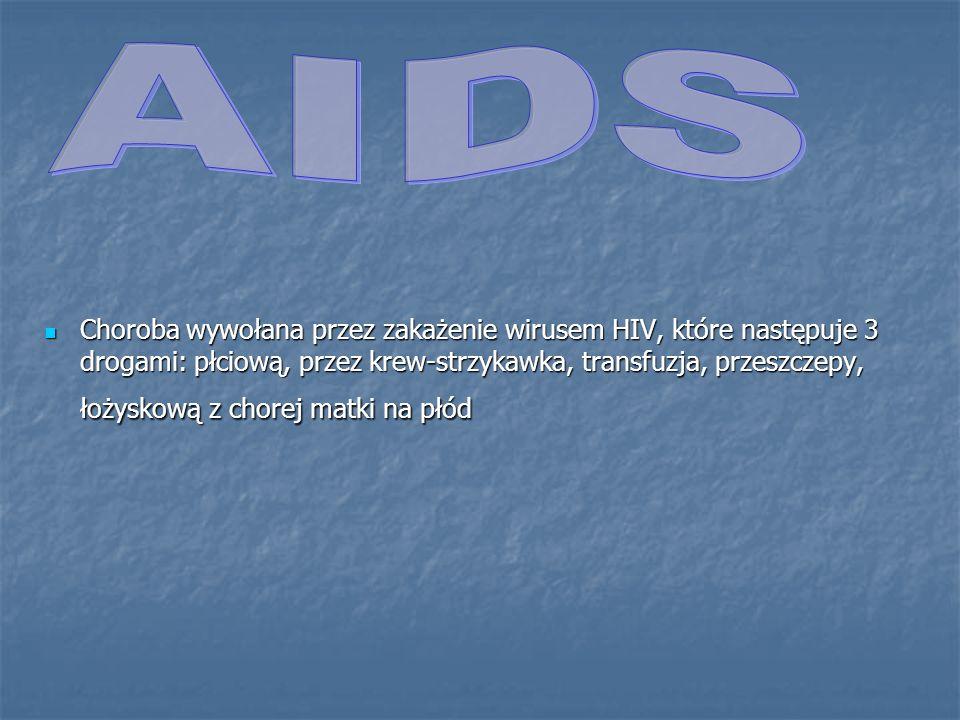 Choroba wywołana przez zakażenie wirusem HIV, które następuje 3 drogami: płciową, przez krew-strzykawka, transfuzja, przeszczepy, łożyskową z chorej m