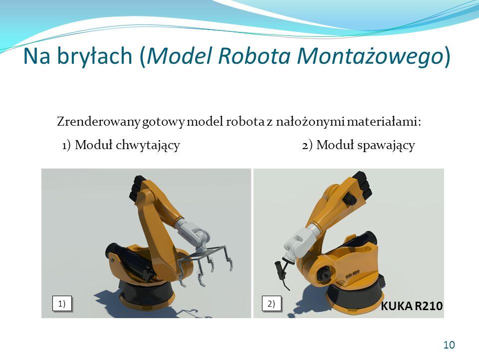 Na bryłach (Model Robota Montażowego) Zrenderowany gotowy model robota z nałożonymi materiałami: 1) Moduł chwytający2) Moduł spawający 1) 2) 10 KUKA R