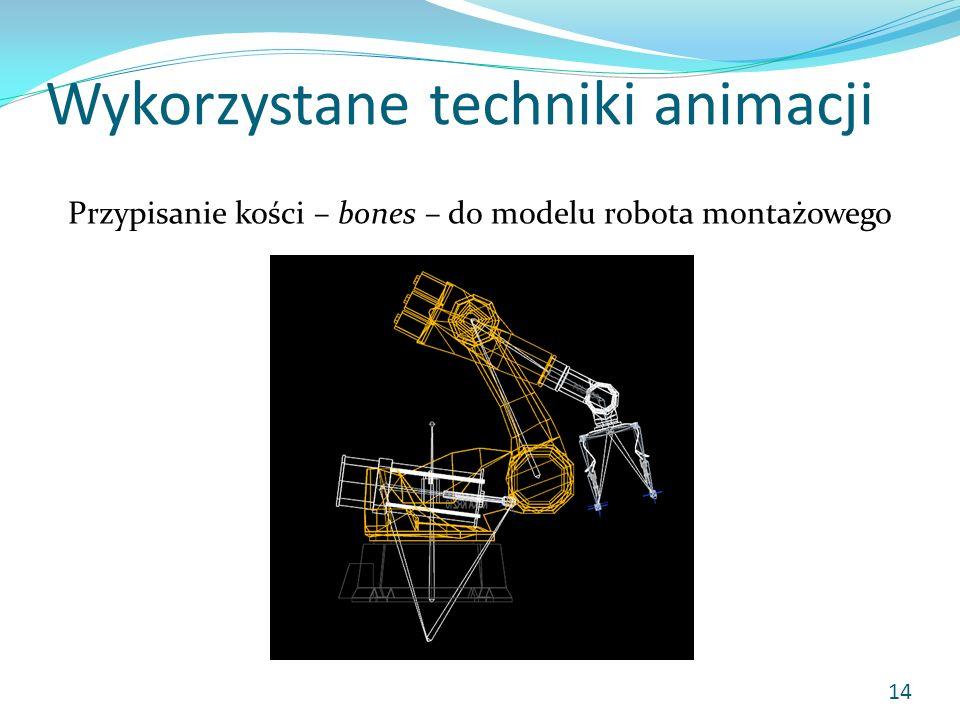Wykorzystane techniki animacji Przypisanie kości – bones – do modelu robota montażowego 14