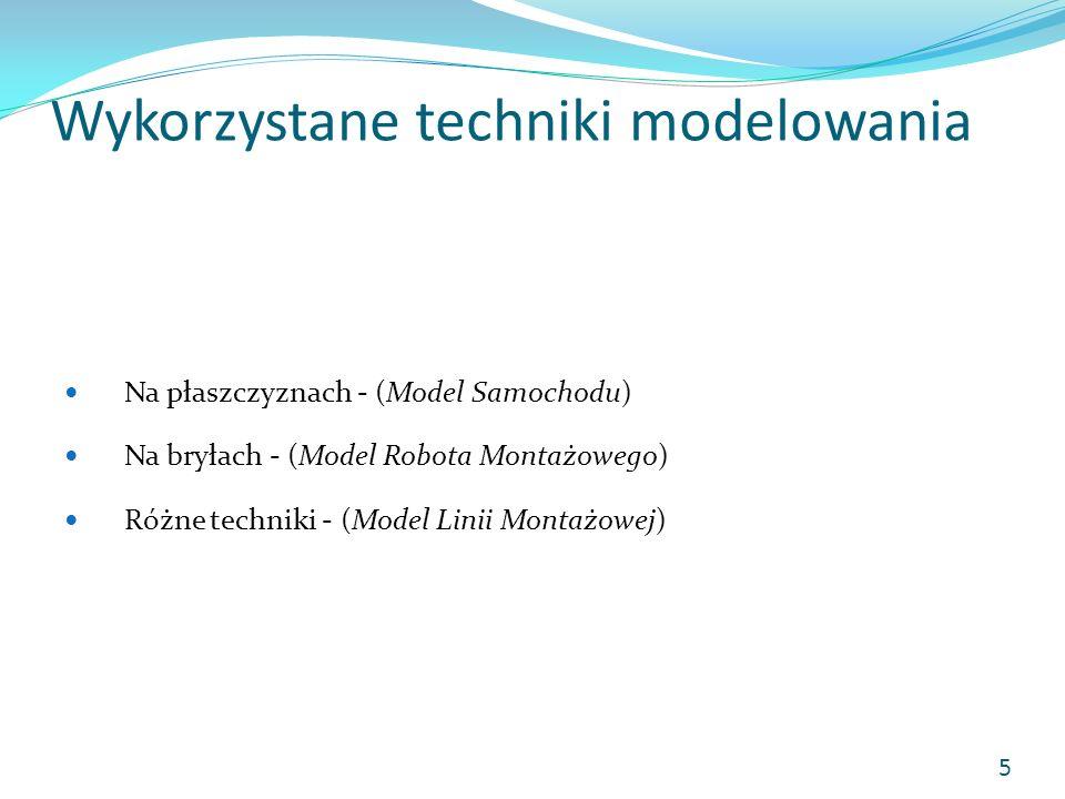 Wykorzystane techniki modelowania Na płaszczyznach - (Model Samochodu) Na bryłach - (Model Robota Montażowego) Różne techniki - (Model Linii Montażowe