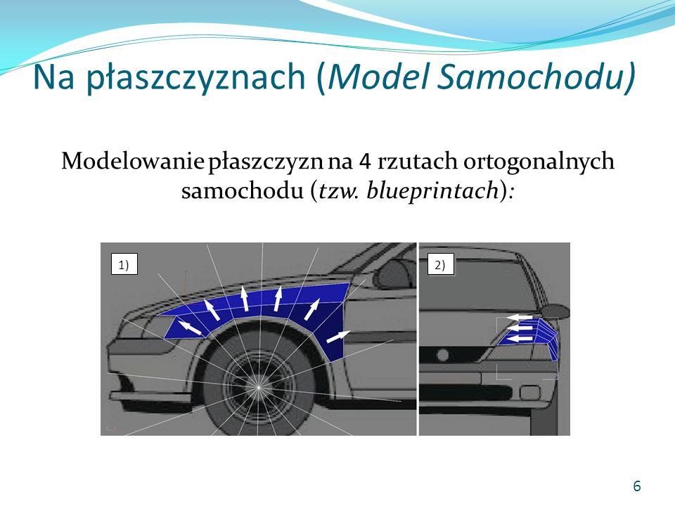 Na płaszczyznach (Model Samochodu) Modelowanie płaszczyzn na 4 rzutach ortogonalnych samochodu (tzw. blueprintach): 6 1) 2)