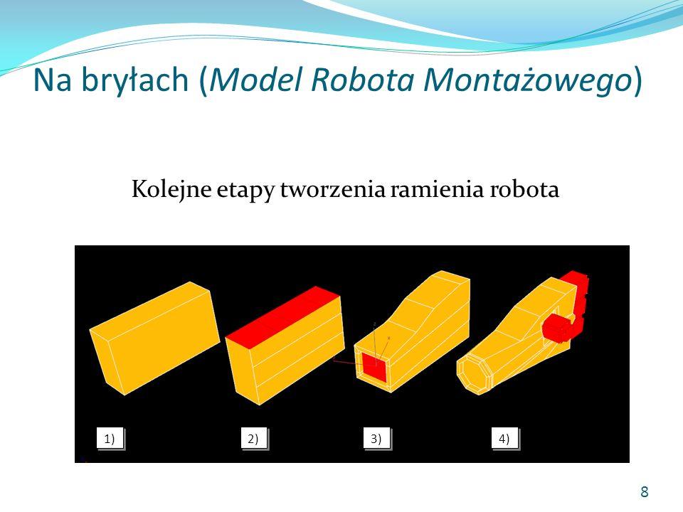 Na bryłach (Model Robota Montażowego) Kolejne etapy tworzenia ramienia robota 1) 2) 3) 4) 8