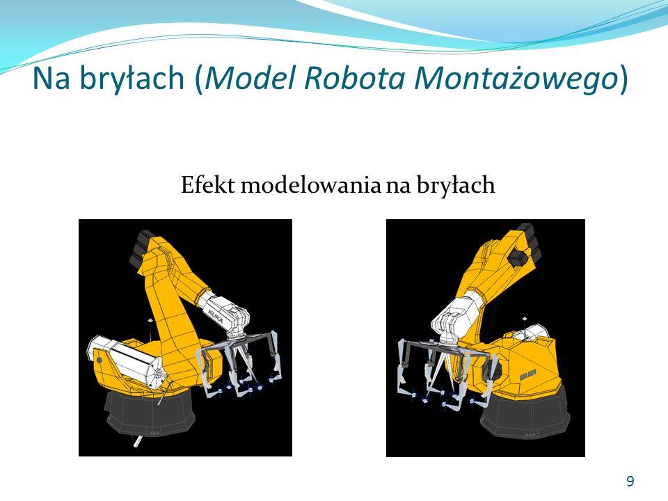Na bryłach (Model Robota Montażowego) Zrenderowany gotowy model robota z nałożonymi materiałami: 1) Moduł chwytający2) Moduł spawający 1) 2) 10 KUKA R210