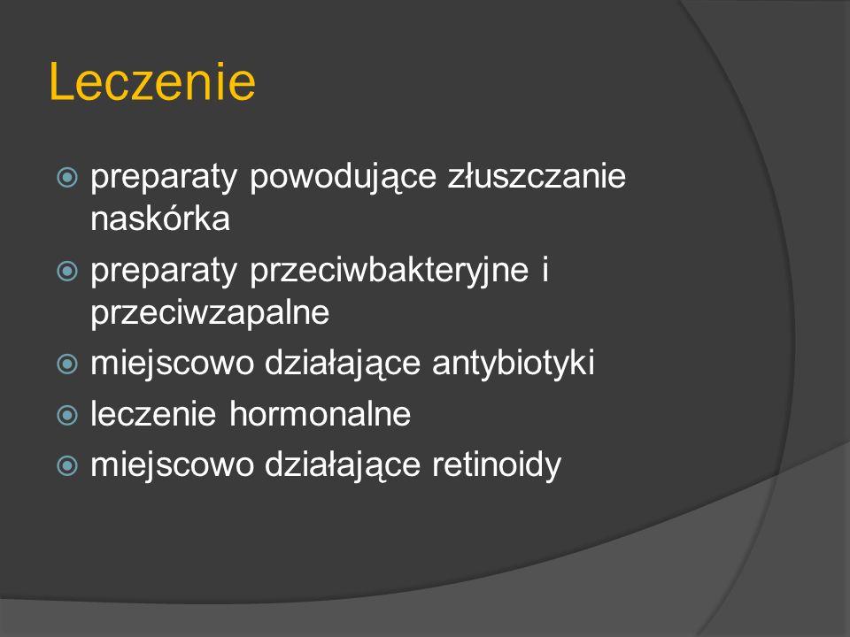 Kosmetyki W skutecznych kosmetykach na trądzik znajdują się: Nadtlenek benzoilu – zapobiega powstawaniu krost Cynk – przyspiesz gojenie się krost Witaminy A, C i E – wspomagają funkcjonowanie i naturalną odbudowę skóry