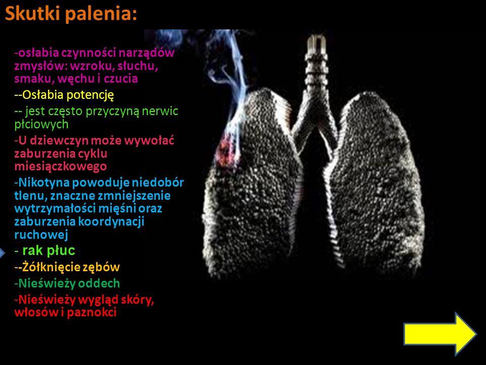 Skutki palenia: -osłabia czynności narządów zmysłów: wzroku, słuchu, smaku, węchu i czucia --Osłabia potencję -- jest często przyczyną nerwic płciowyc