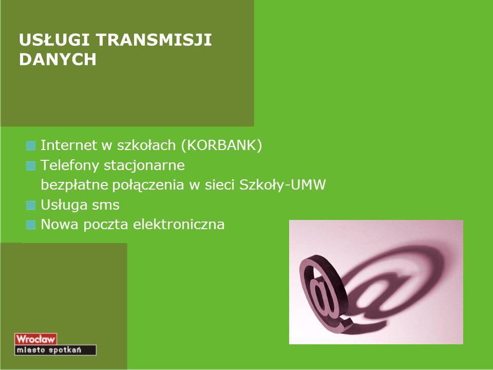 Internet w szkołach (KORBANK) Telefony stacjonarne bezpłatne połączenia w sieci Szkoły-UMW Usługa sms Nowa poczta elektroniczna USŁUGI TRANSMISJI DANY