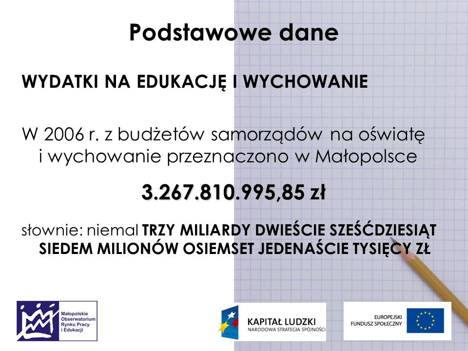 Podstawowe dane WYDATKI NA EDUKACJĘ I WYCHOWANIE W 2006 r. z budżetów samorządów na oświatę i wychowanie przeznaczono w Małopolsce 3.267.810.995,85 zł