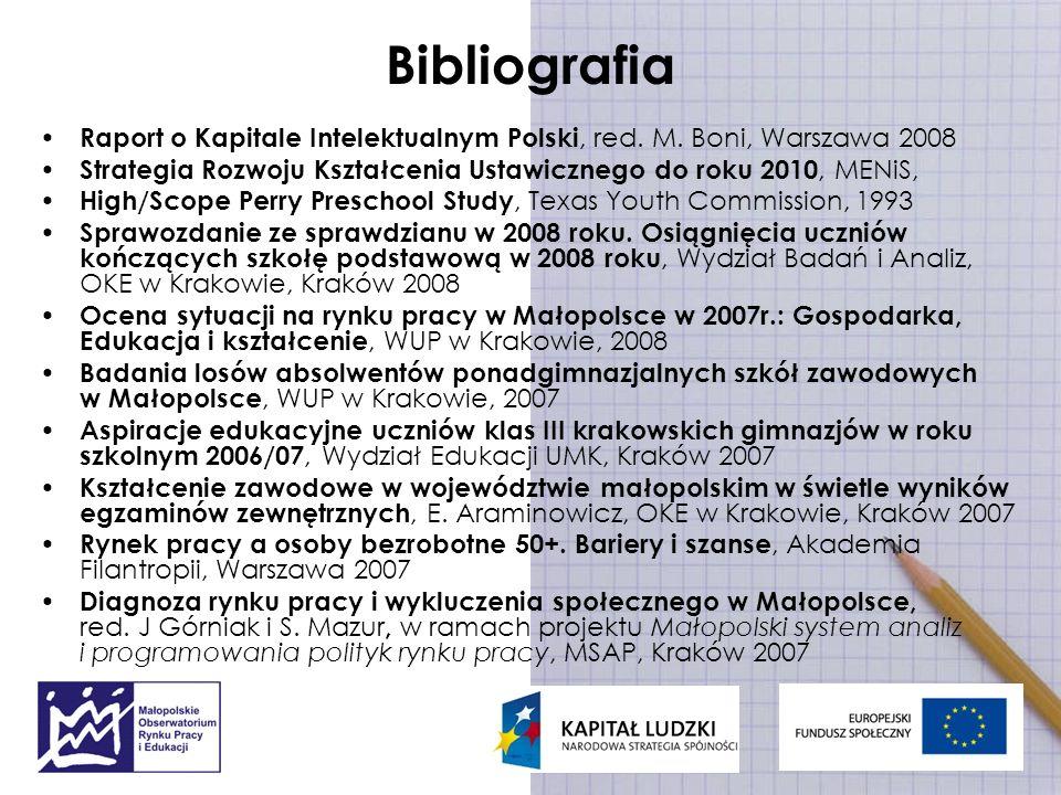 Bibliografia Raport o Kapitale Intelektualnym Polski, red. M. Boni, Warszawa 2008 Strategia Rozwoju Kształcenia Ustawicznego do roku 2010, MENiS, High