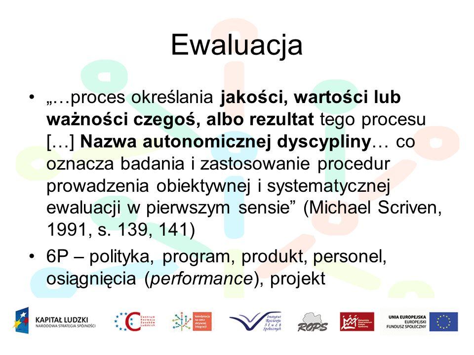 Ewaluacja …proces określania jakości, wartości lub ważności czegoś, albo rezultat tego procesu […] Nazwa autonomicznej dyscypliny… co oznacza badania