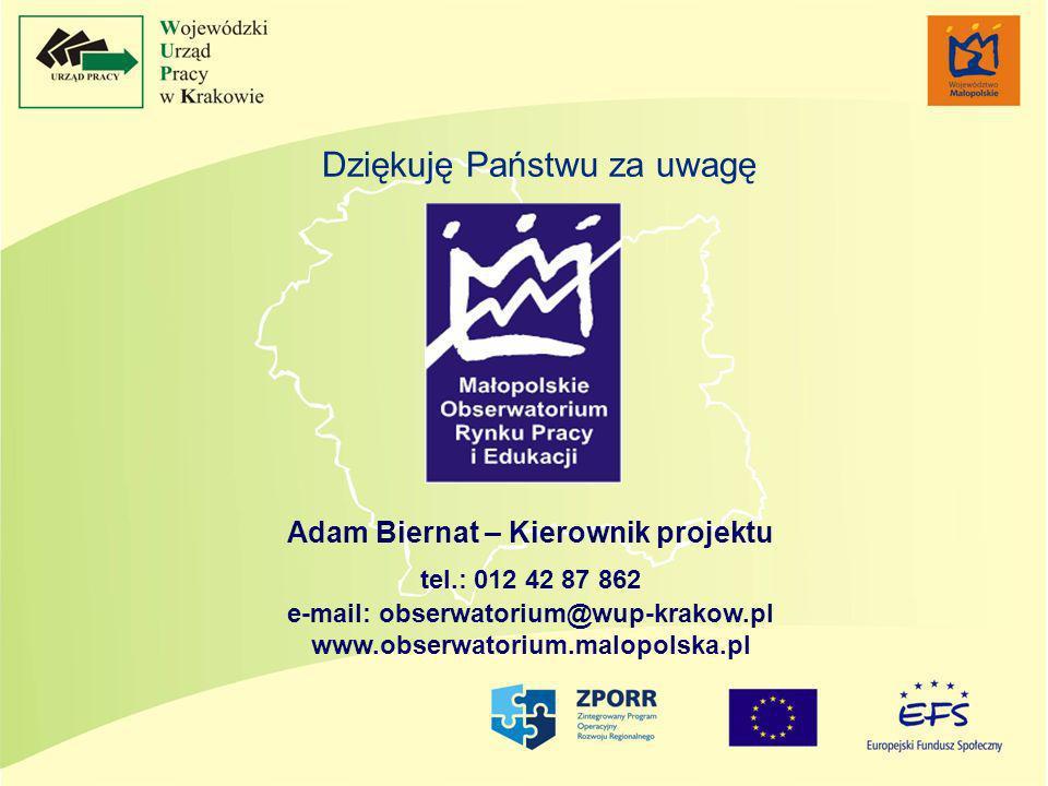 Dziękuję Państwu za uwagę Adam Biernat – Kierownik projektu tel.: 012 42 87 862 e-mail: obserwatorium@wup-krakow.pl www.obserwatorium.malopolska.pl