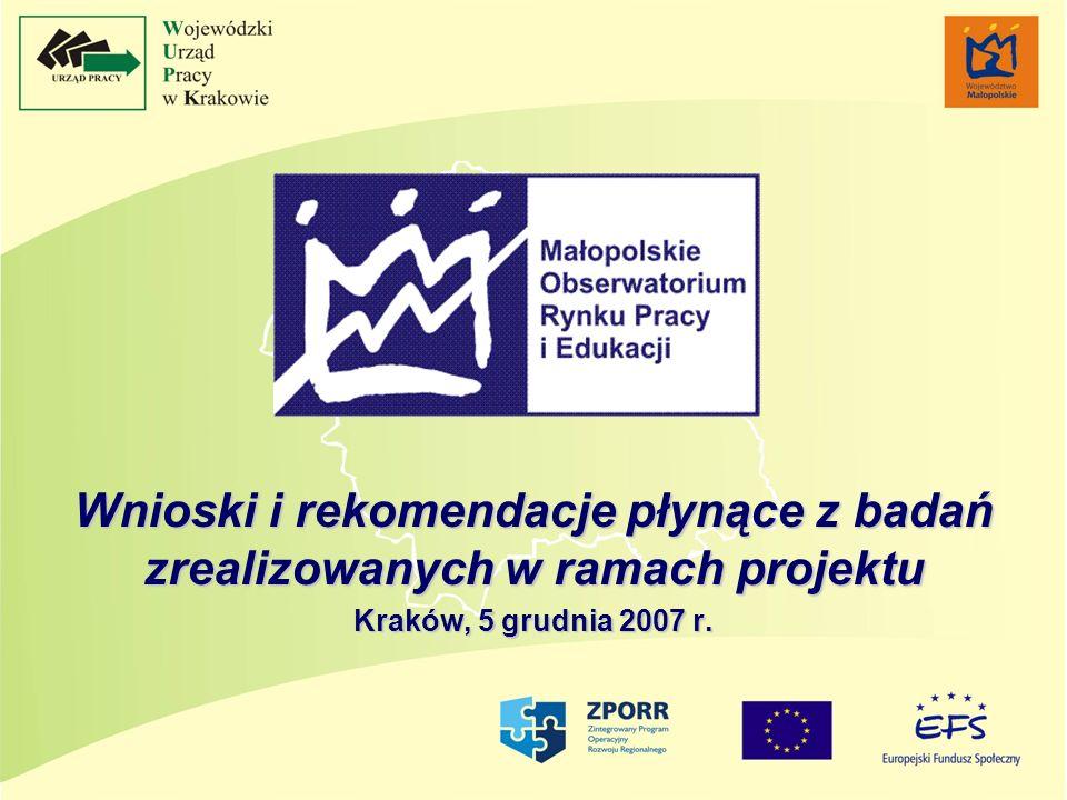 Wnioski i rekomendacje płynące z badań zrealizowanych w ramach projektu Kraków, 5 grudnia 2007 r.