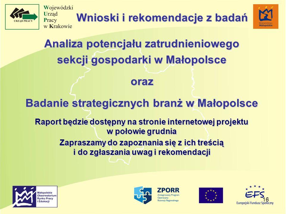 16 Analiza potencjału zatrudnieniowego sekcji gospodarki w Małopolsce oraz Badanie strategicznych branż w Małopolsce Raport będzie dostępny na stronie