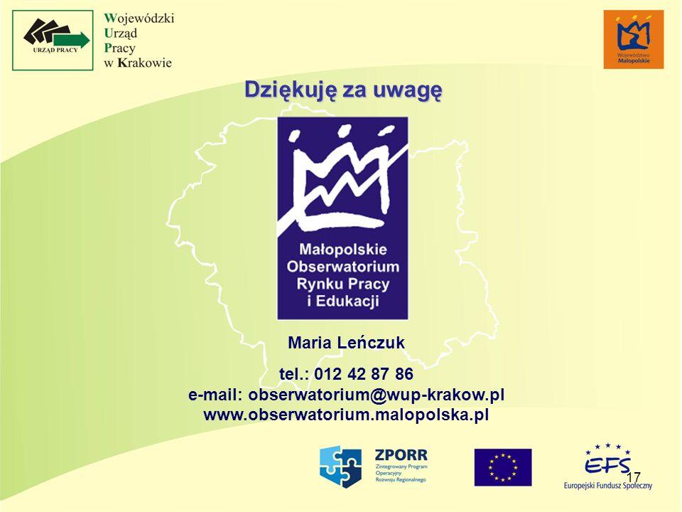 17 Maria Leńczuk tel.: 012 42 87 86 e-mail: obserwatorium@wup-krakow.pl www.obserwatorium.malopolska.pl Dziękuję za uwagę
