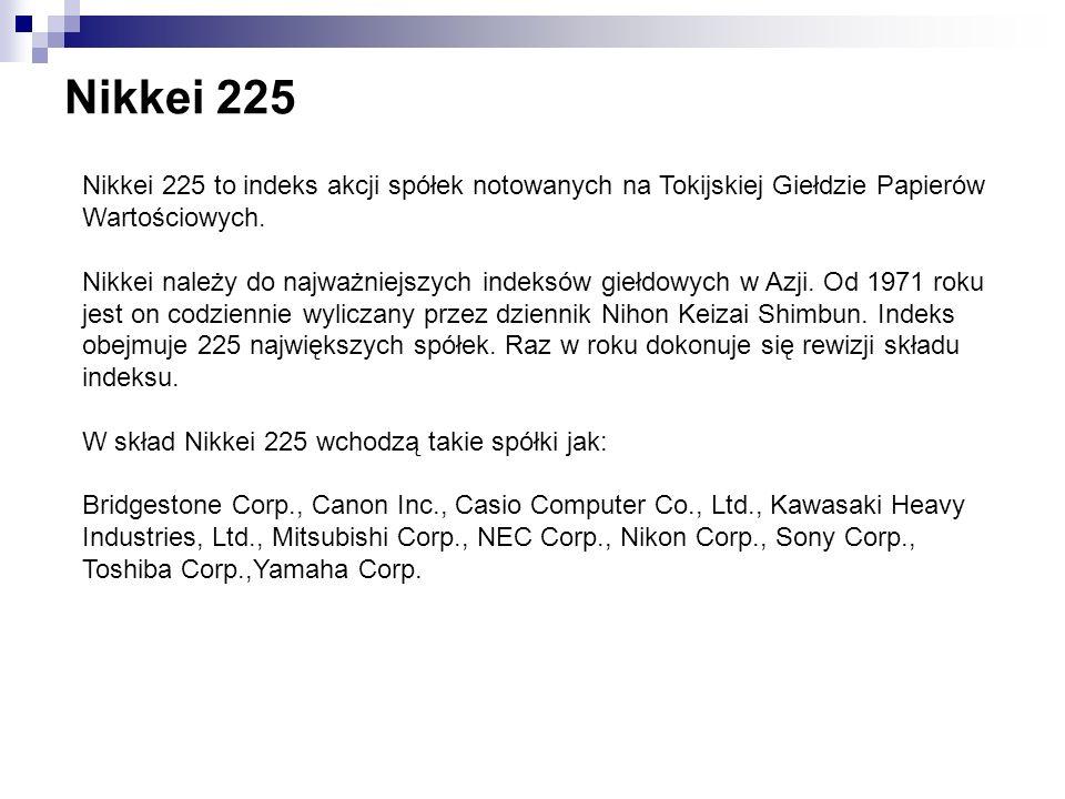 Nikkei 225 Nikkei 225 to indeks akcji spółek notowanych na Tokijskiej Giełdzie Papierów Wartościowych. Nikkei należy do najważniejszych indeksów giełd