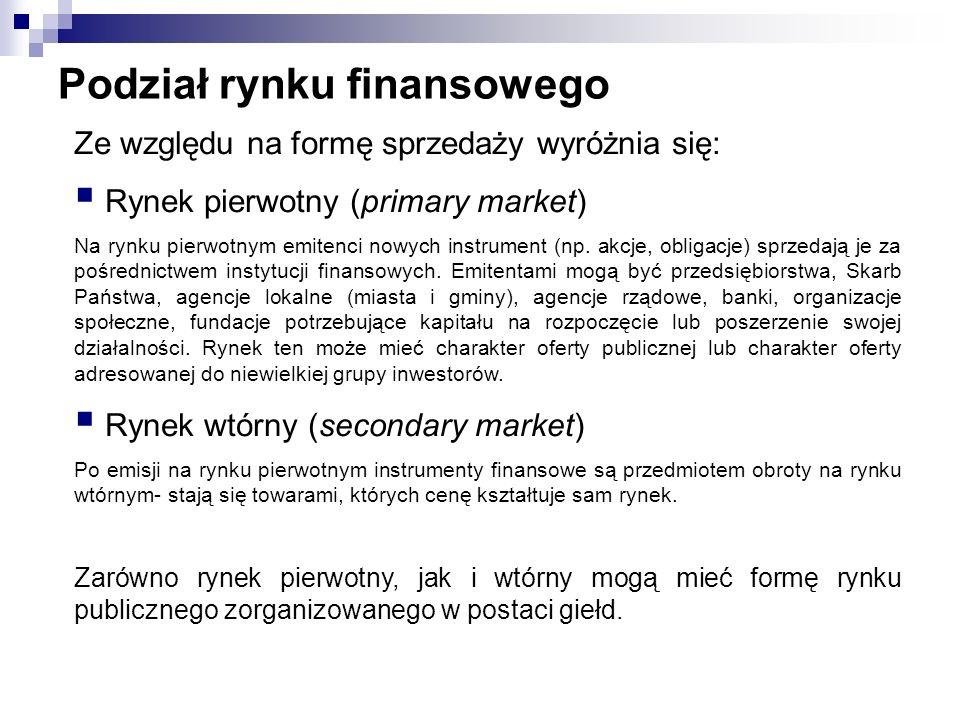 Podział rynku finansowego Ze względu na formę sprzedaży wyróżnia się: Rynek pierwotny (primary market) Na rynku pierwotnym emitenci nowych instrument