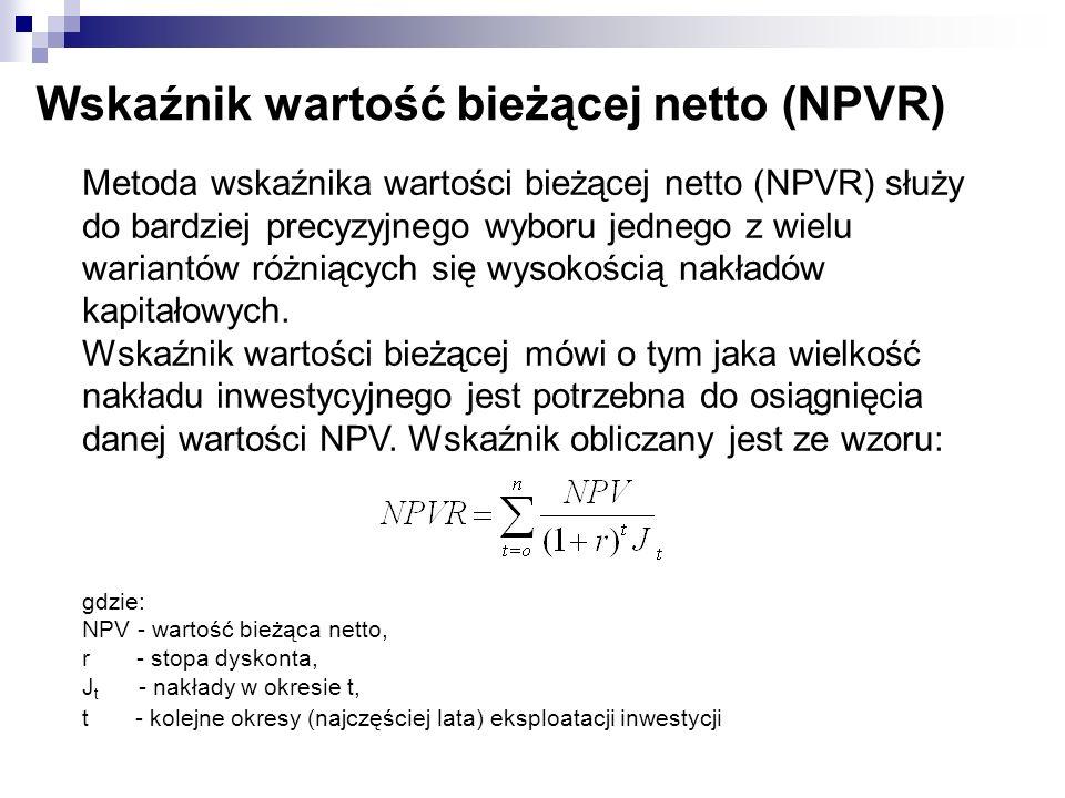 Wskaźnik wartość bieżącej netto (NPVR) Metoda wskaźnika wartości bieżącej netto (NPVR) służy do bardziej precyzyjnego wyboru jednego z wielu wariantów