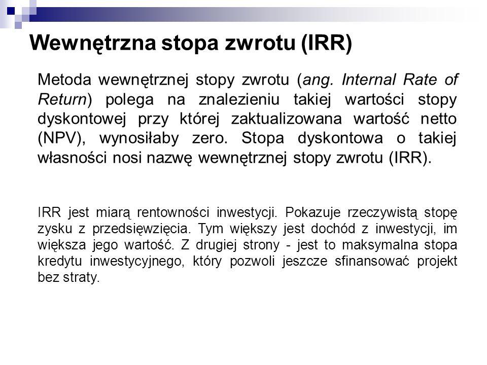 Wewnętrzna stopa zwrotu (IRR) Metoda wewnętrznej stopy zwrotu (ang. Internal Rate of Return) polega na znalezieniu takiej wartości stopy dyskontowej p