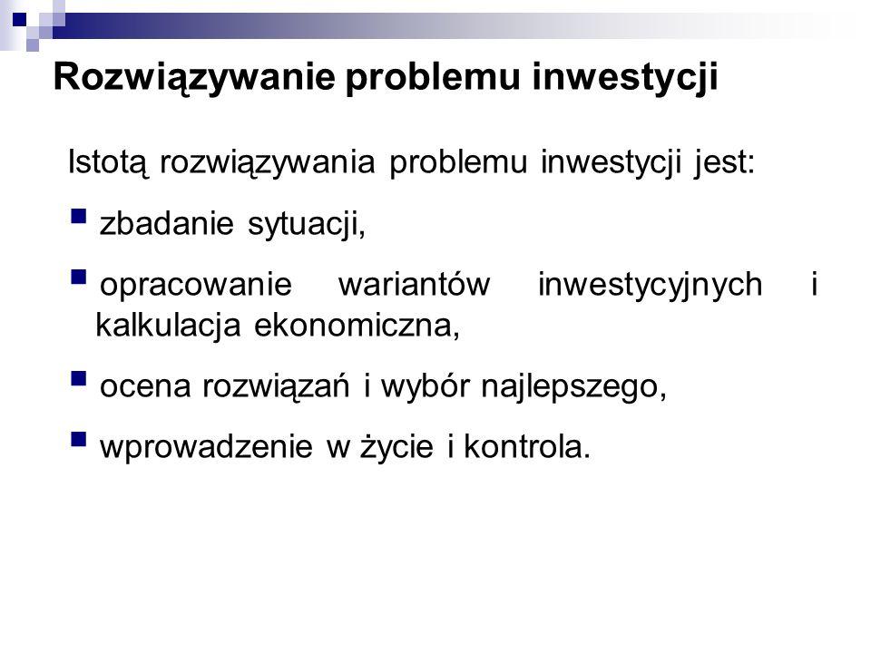 Rozwiązywanie problemu inwestycji Istotą rozwiązywania problemu inwestycji jest: zbadanie sytuacji, opracowanie wariantów inwestycyjnych i kalkulacja