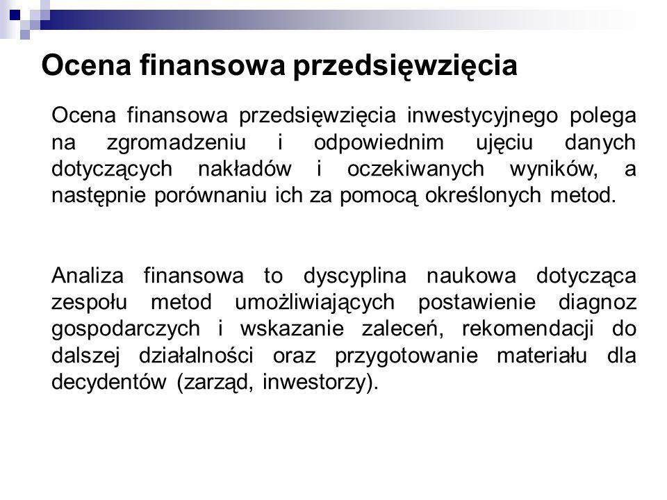 Ocena finansowa przedsięwzięcia Ocena finansowa przedsięwzięcia inwestycyjnego polega na zgromadzeniu i odpowiednim ujęciu danych dotyczących nakładów