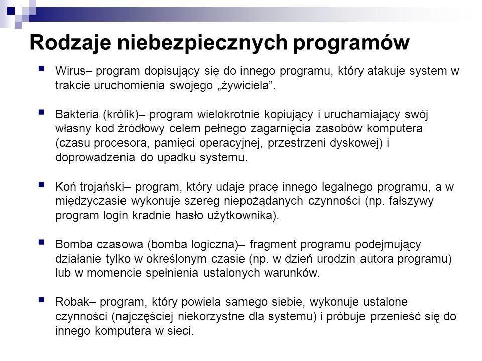 Rodzaje niebezpiecznych programów Wirus– program dopisujący się do innego programu, który atakuje system w trakcie uruchomienia swojego żywiciela. Bak