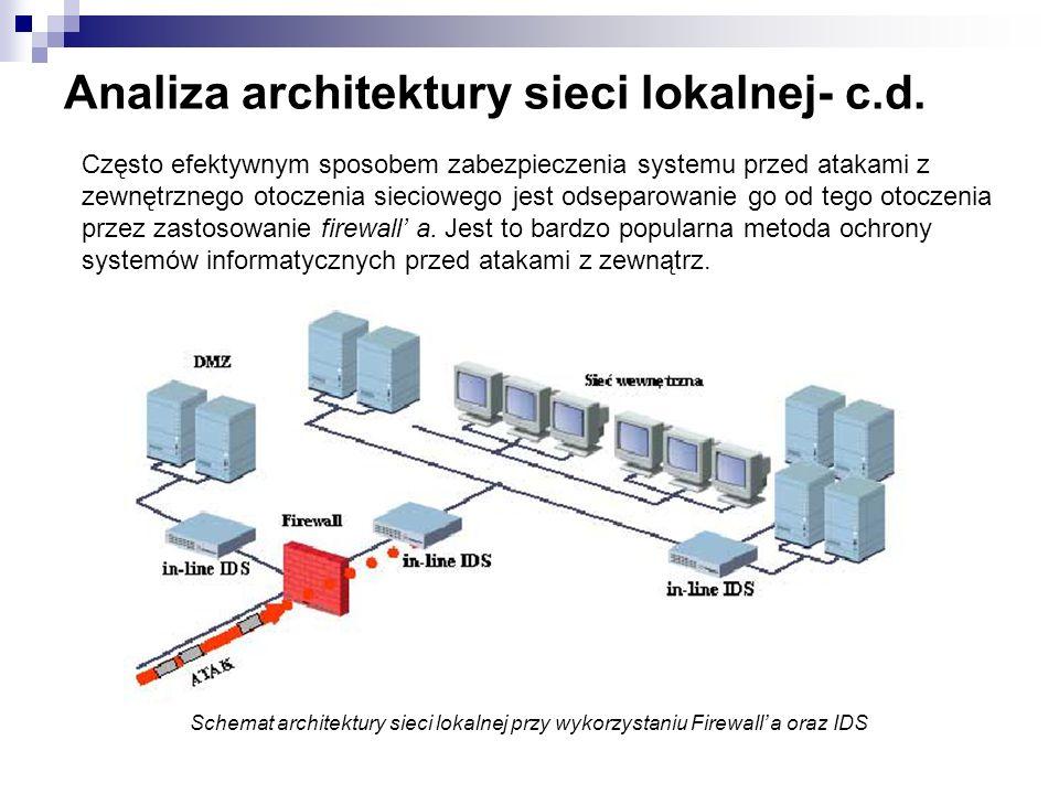 Analiza architektury sieci lokalnej- c.d. Schemat architektury sieci lokalnej przy wykorzystaniu Firewall a oraz IDS Często efektywnym sposobem zabezp