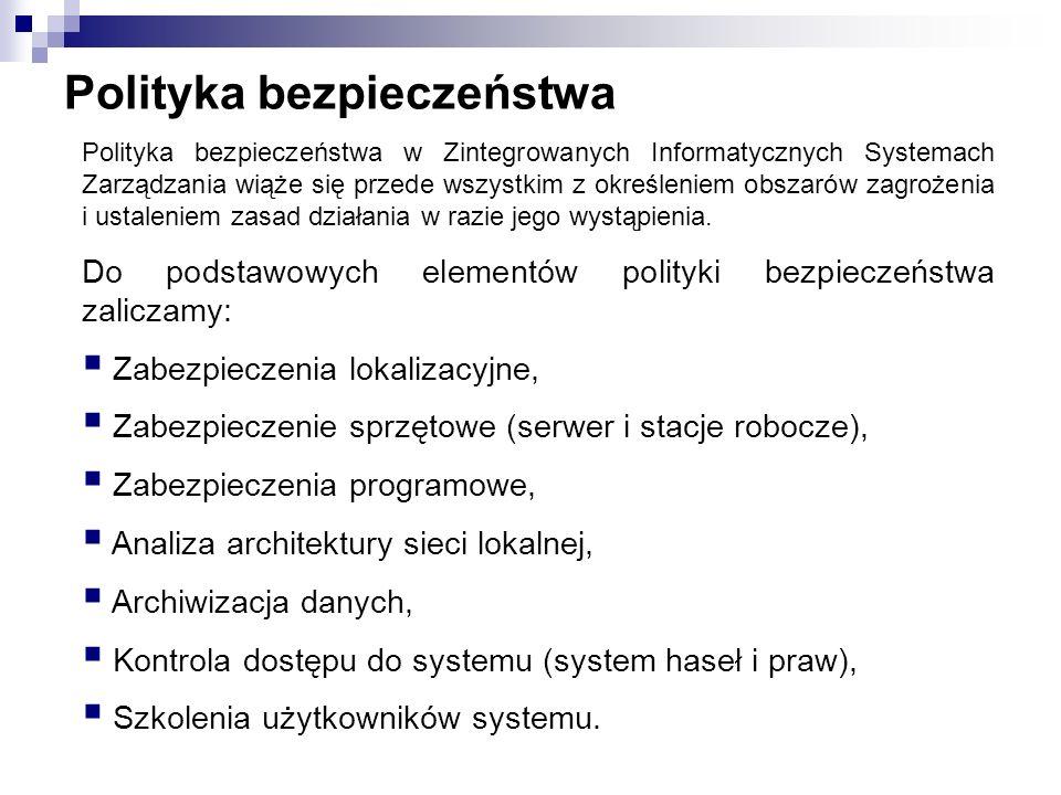 Polityka bezpieczeństwa Polityka bezpieczeństwa w Zintegrowanych Informatycznych Systemach Zarządzania wiąże się przede wszystkim z określeniem obszar