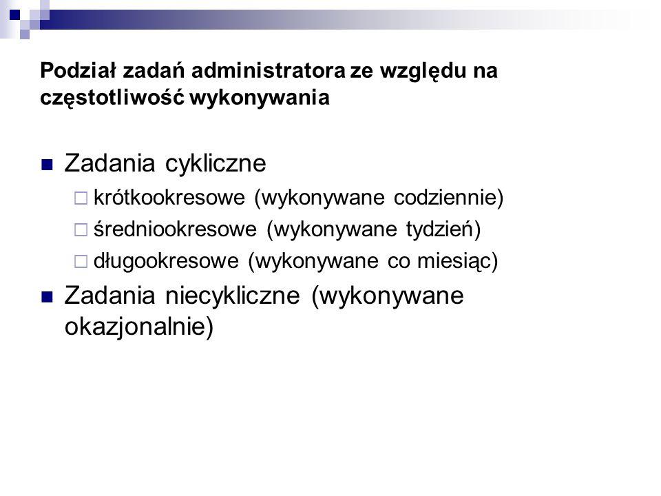 Podział zadań administratora ze względu na częstotliwość wykonywania Zadania cykliczne krótkookresowe (wykonywane codziennie) średniookresowe (wykonyw