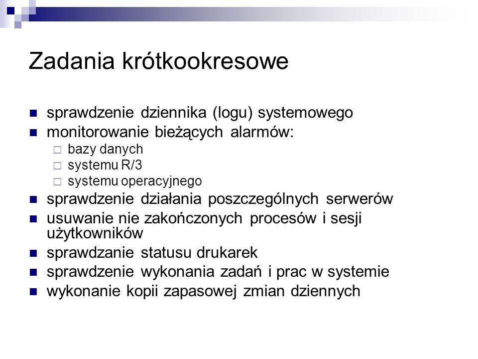 Zadania krótkookresowe sprawdzenie dziennika (logu) systemowego monitorowanie bieżących alarmów: bazy danych systemu R/3 systemu operacyjnego sprawdze