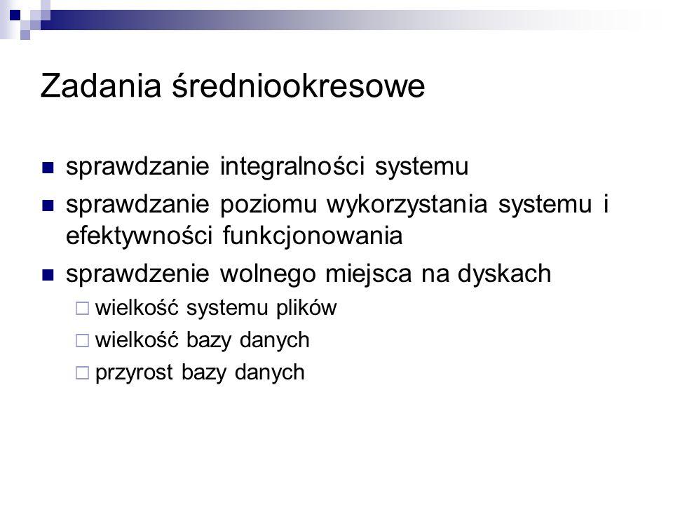 Zadania średniookresowe sprawdzanie integralności systemu sprawdzanie poziomu wykorzystania systemu i efektywności funkcjonowania sprawdzenie wolnego