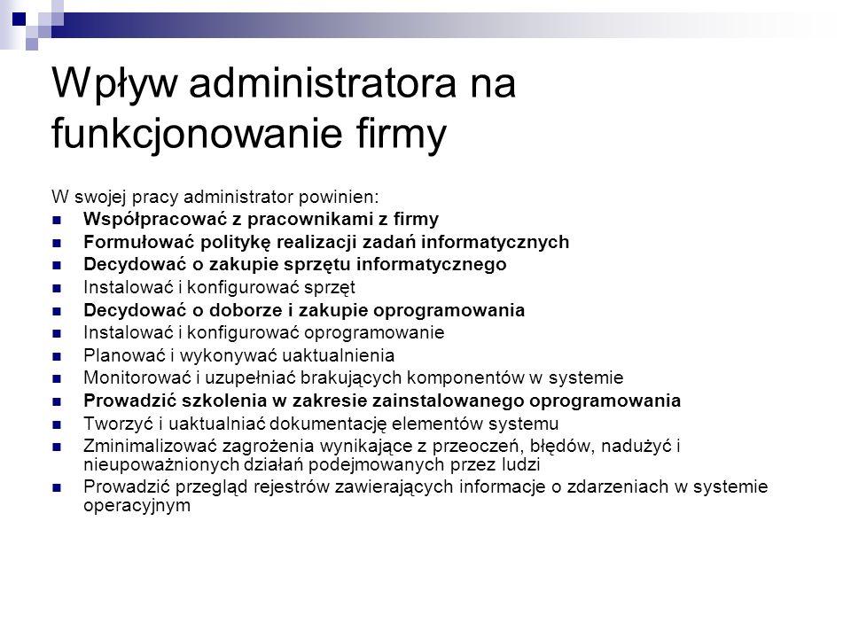 Od czego zależą zadania administratora: Wielkość firmy Ilości informatyków w firmie Dostępności wsparcia dla infrastruktury informatycznej (outsourcing)