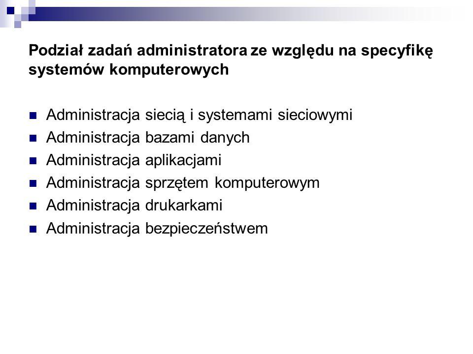 Podział zadań administratora ze względu na specyfikę systemów komputerowych Administracja siecią i systemami sieciowymi Administracja bazami danych Ad
