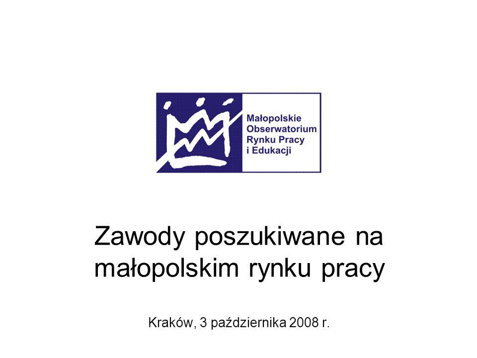 Zawody poszukiwane na małopolskim rynku pracy Kraków, 3 października 2008 r.