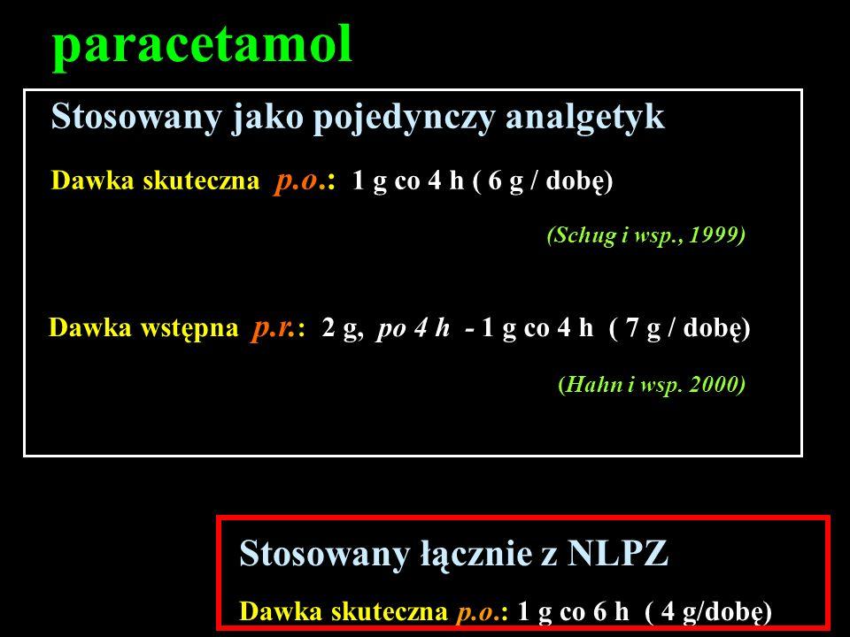 paracetamol Stosowany jako pojedynczy analgetyk Dawka skuteczna p.o.: 1 g co 4 h ( 6 g / dobę) (Schug i wsp., 1999) Dawka wstępna p.r. : 2 g, po 4 h -