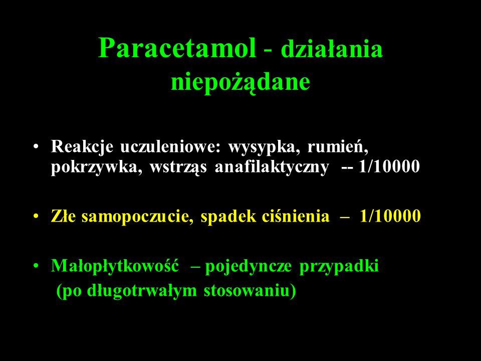 Paracetamol - działania niepożądane Reakcje uczuleniowe: wysypka, rumień, pokrzywka, wstrząs anafilaktyczny -- 1/10000 Złe samopoczucie, spadek ciśnienia – 1/10000 Małopłytkowość – pojedyncze przypadki (po długotrwałym stosowaniu)