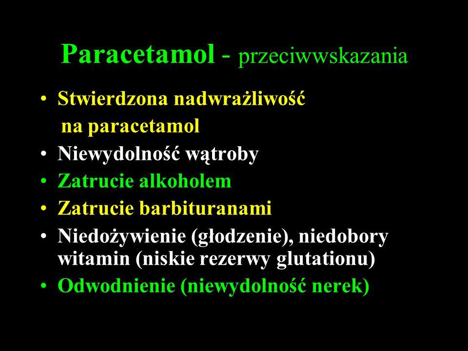 Paracetamol - przeciwwskazania Stwierdzona nadwrażliwość na paracetamol Niewydolność wątroby Zatrucie alkoholem Zatrucie barbituranami Niedożywienie (