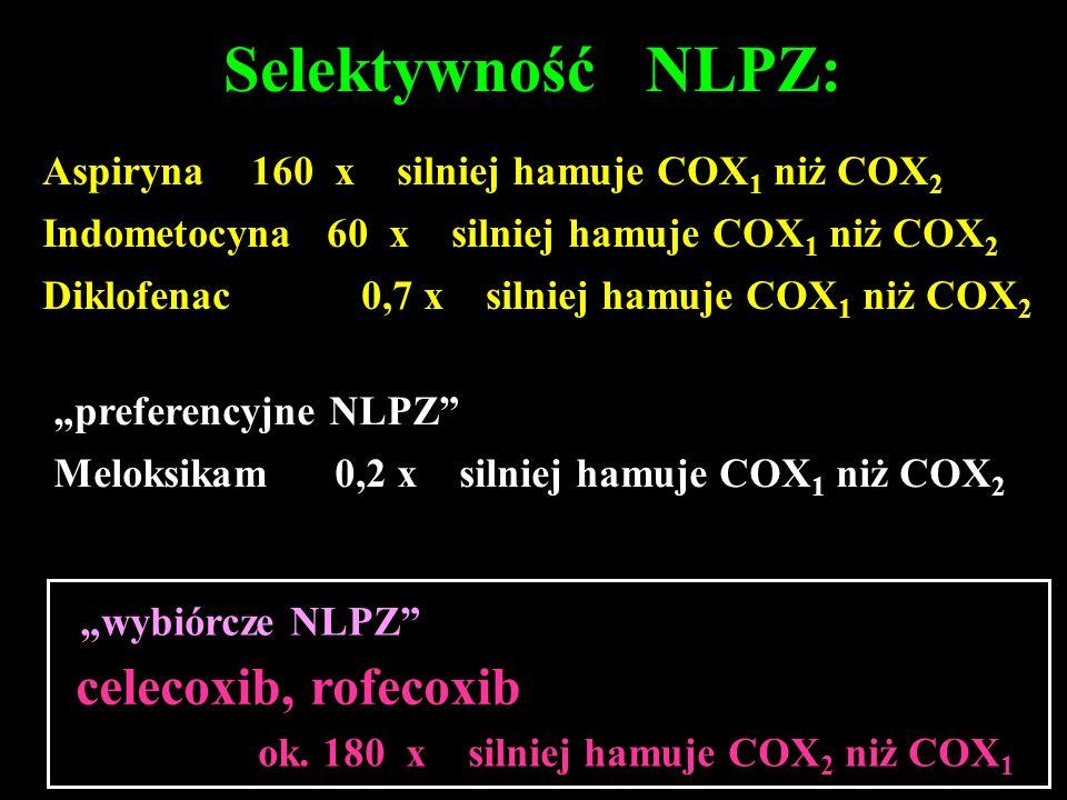Selektywność NLPZ: Aspiryna 160 x silniej hamuje COX 1 niż COX 2 Indometocyna 60 x silniej hamuje COX 1 niż COX 2 Diklofenac 0,7 x silniej hamuje COX