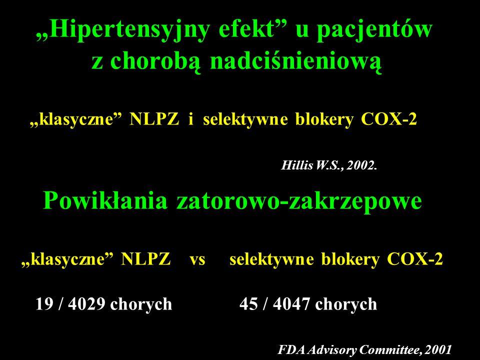 Hipertensyjny efekt u pacjentów z chorobą nadciśnieniową klasyczne NLPZ i selektywne blokery COX-2 Hillis W.S., 2002. Powikłania zatorowo-zakrzepowe k