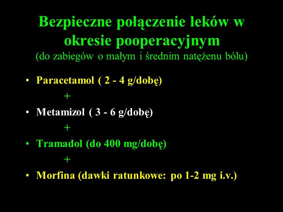 Bezpieczne połączenie leków w okresie pooperacyjnym (do zabiegów o małym i średnim natężenu bólu) Paracetamol ( 2 - 4 g/dobę) + Metamizol ( 3 - 6 g/do