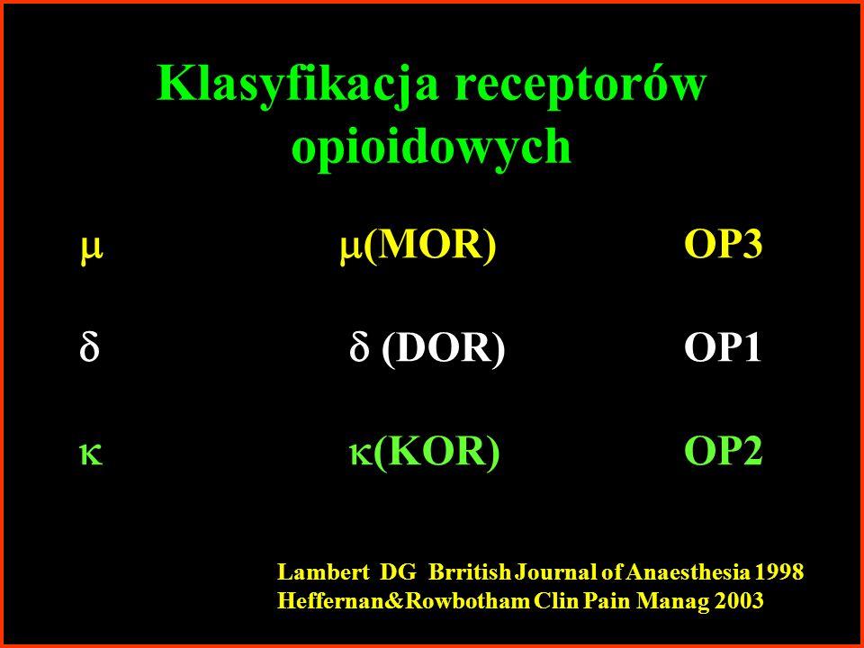 Klasyfikacja receptorów opioidowych Lambert DG Brritish Journal of Anaesthesia 1998 Heffernan&Rowbotham Clin Pain Manag 2003 (MOR)OP3 (DOR)OP1 (KOR)OP