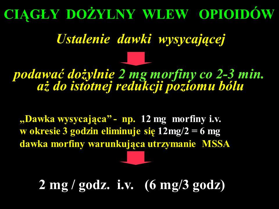 Dawka wysycająca - np. 12 mg morfiny i.v. w okresie 3 godzin eliminuje się 12mg/2 = 6 mg dawka morfiny warunkująca utrzymanie MSSA 2 mg / godz. i.v. (