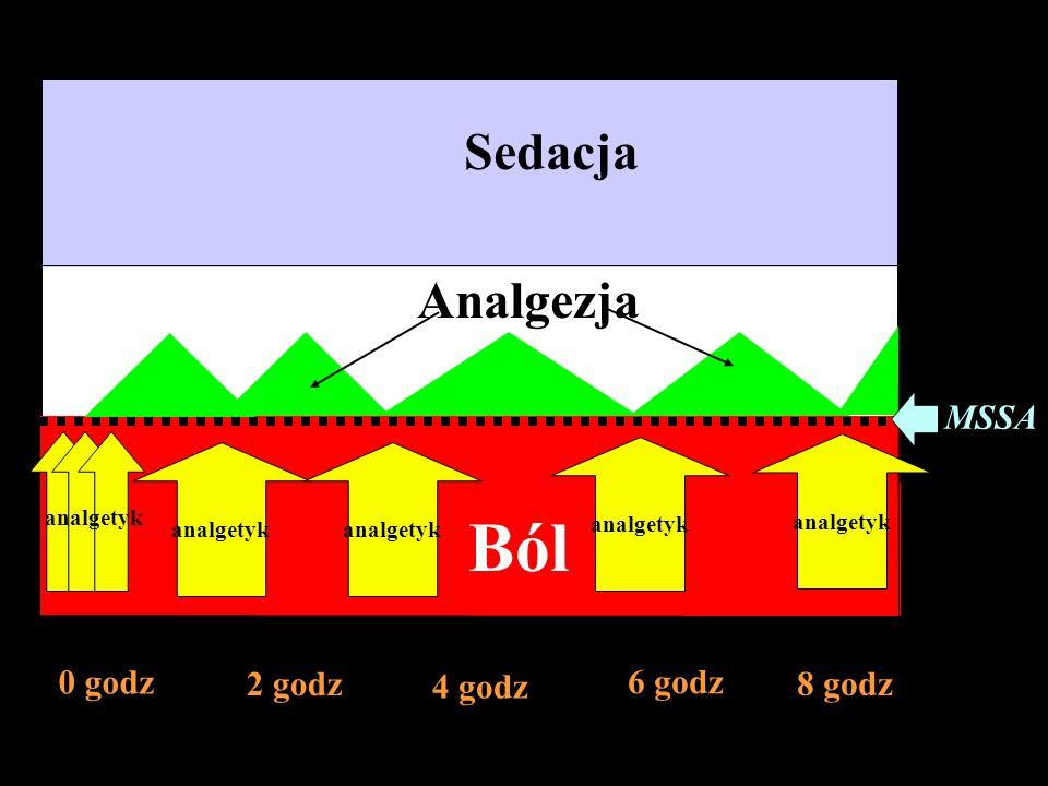 Sedacja 0 godz 2 godz 4 godz 6 godz 8 godz Analgezja Ból analgetyk MSSA