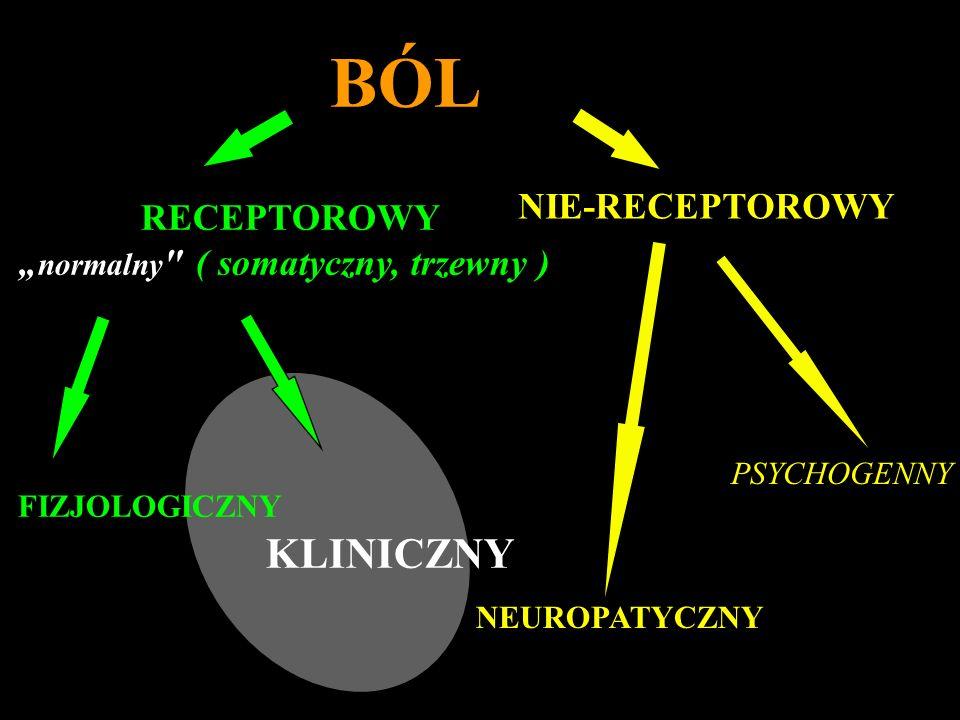 SENSYTYZACJA OŚRODKOWA neuronów OUN BÓL KLINICZNY USZKODZENIE TKANEK ZAPALENIE AKTYWACJA ZAKOŃCZEŃ WSPÓŁCZULNYCH ZAPALENIE NEUROGENNE SENSYTYZACJA OBWODOWA HT- nocyceptory LT nocyceptory Mózg aktywacja motorycznych neuronów generowanie zachowań i odczuć bólowych