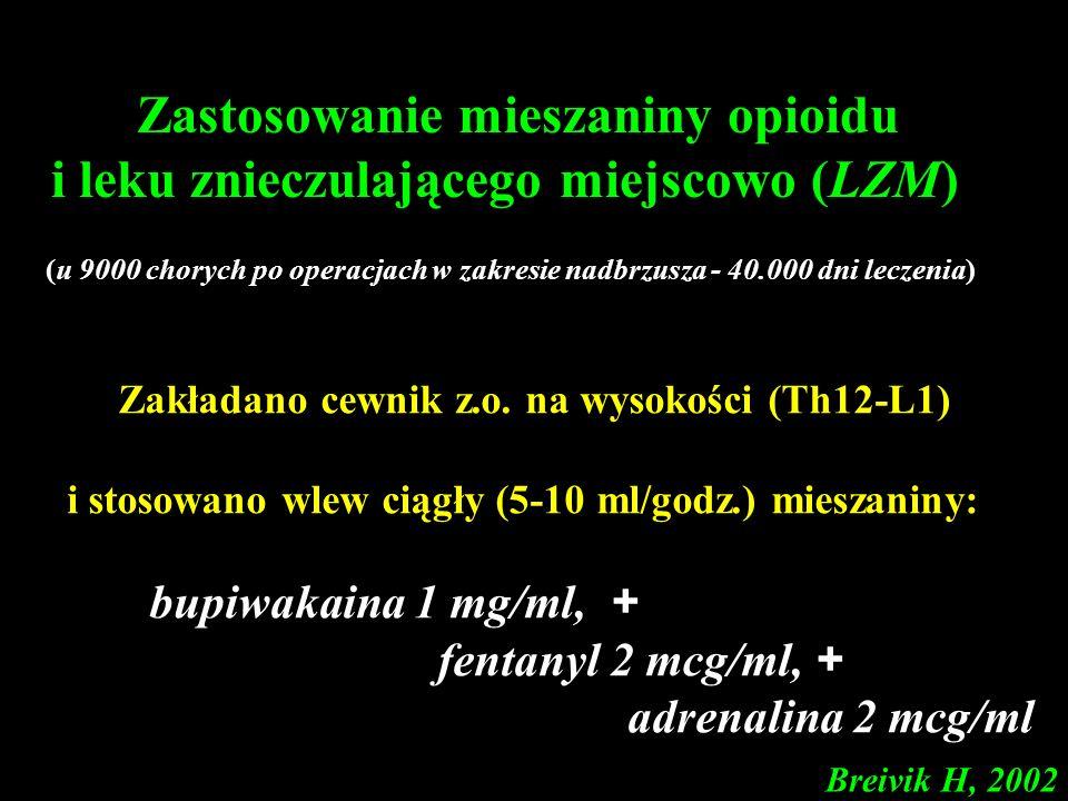 Zakładano cewnik z.o. na wysokości (Th12-L1) i stosowano wlew ciągły (5-10 ml/godz.) mieszaniny: bupiwakaina 1 mg/ml, + fentanyl 2 mcg/ml, + adrenalin