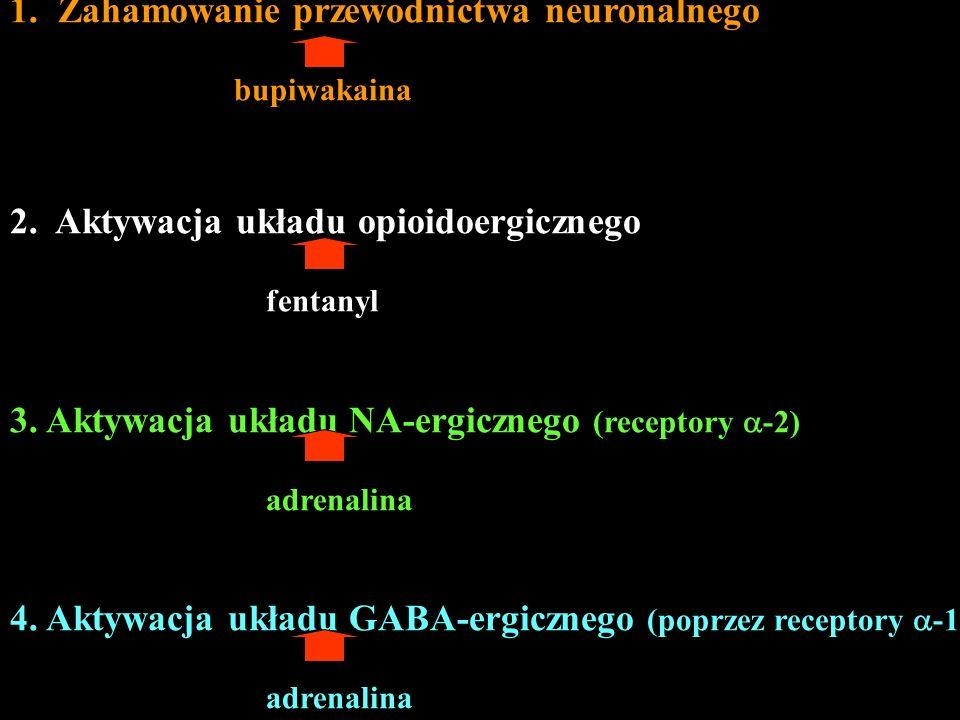1.Zahamowanie przewodnictwa neuronalnego bupiwakaina 2. Aktywacja układu opioidoergicznego fentanyl 3. Aktywacja układu NA-ergicznego (receptory -2) a