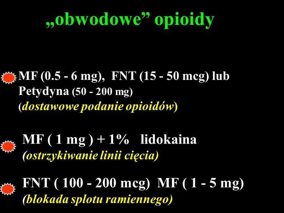 FNT ( 100 - 200 mcg) MF ( 1 - 5 mg) (blokada splotu ramiennego) MF ( 1 mg ) + 1% lidokaina (ostrzykiwanie linii cięcia) obwodowe opioidy MF (0.5 - 6 m