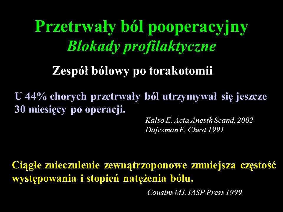 Przetrwały ból pooperacyjny Blokady profilaktyczne Zespół bólowy po torakotomii U 44% chorych przetrwały ból utrzymywał się jeszcze 30 miesięcy po ope